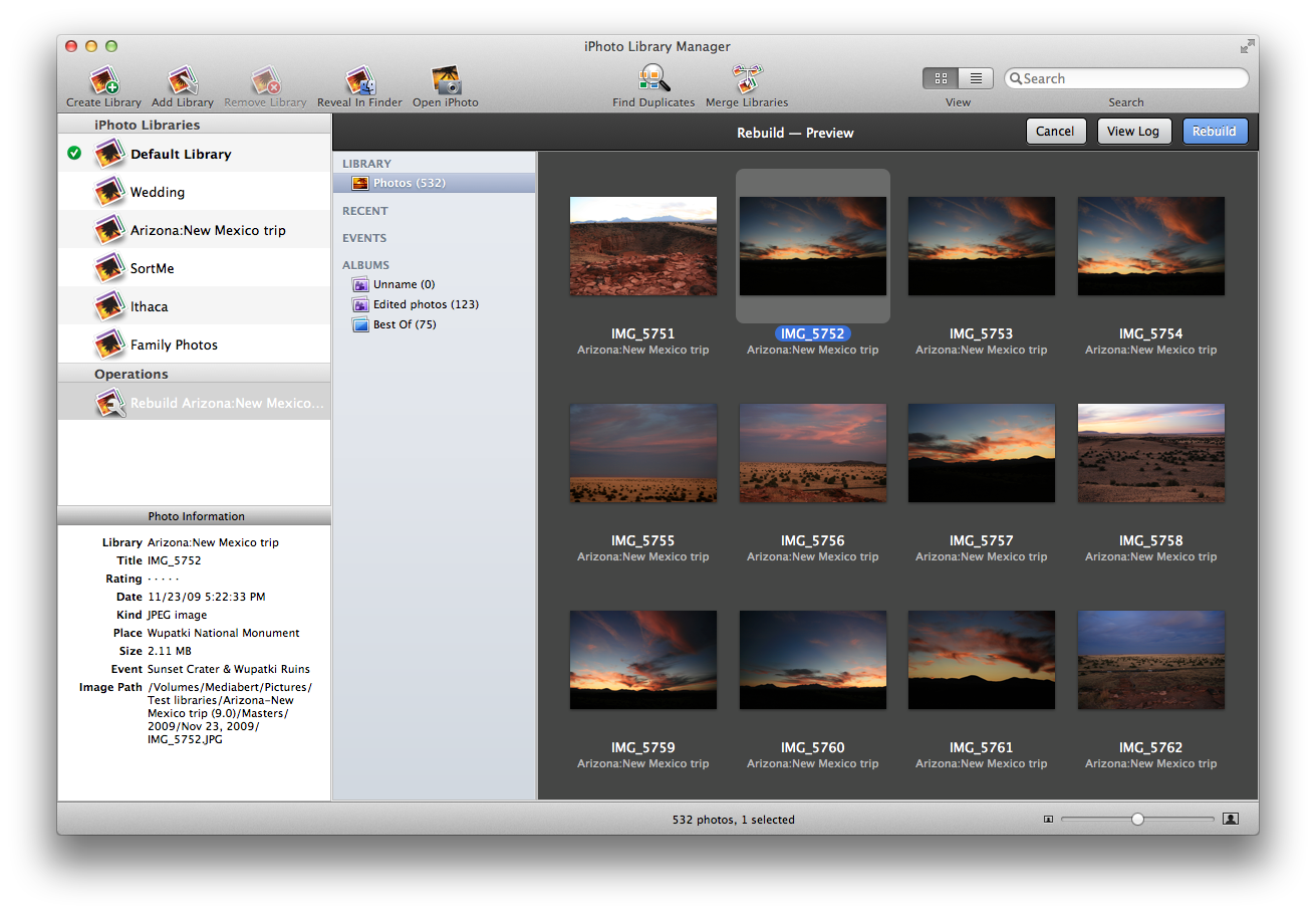 iPhoto Library Manager - Recontruir