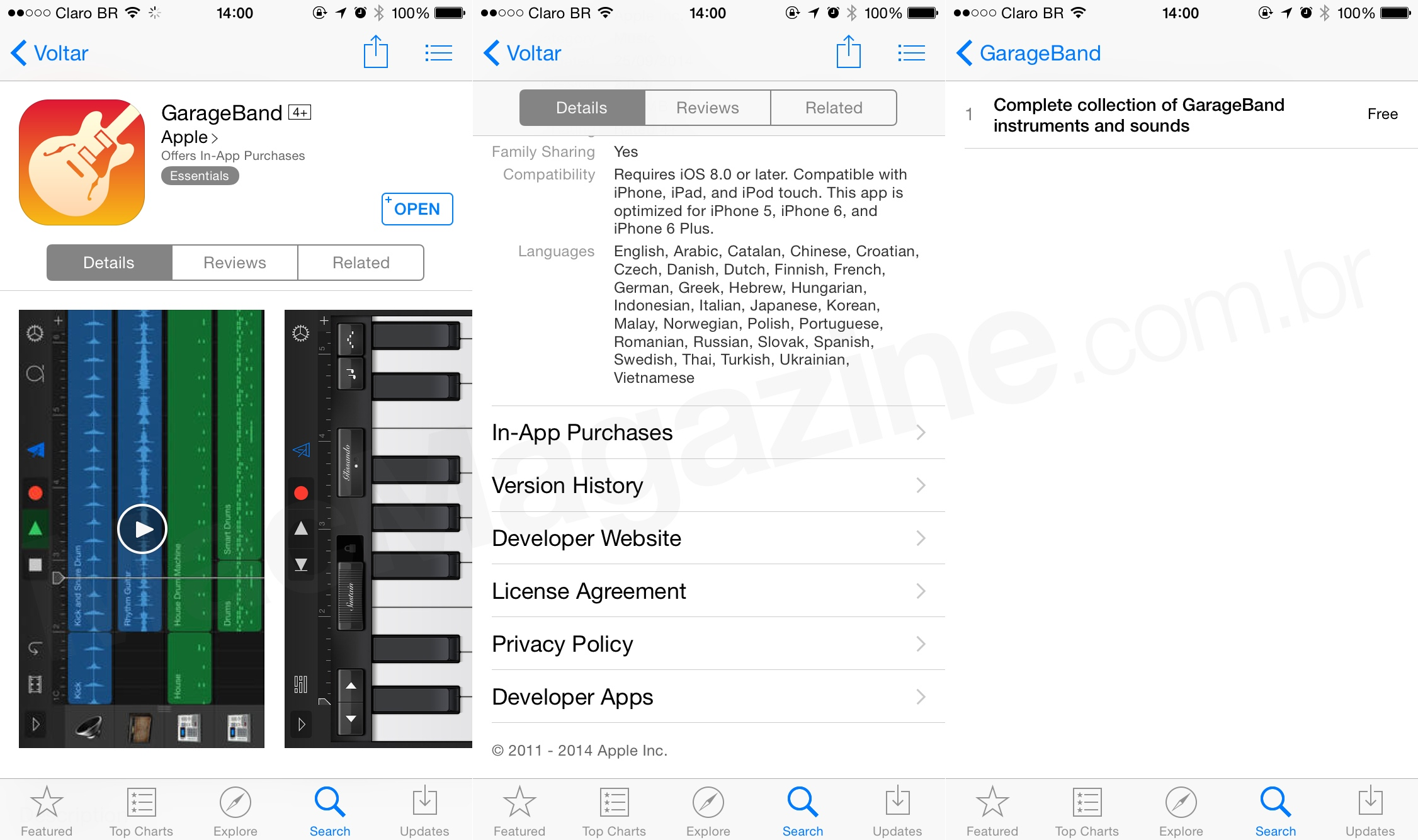 In-App Purchase do GarageBand
