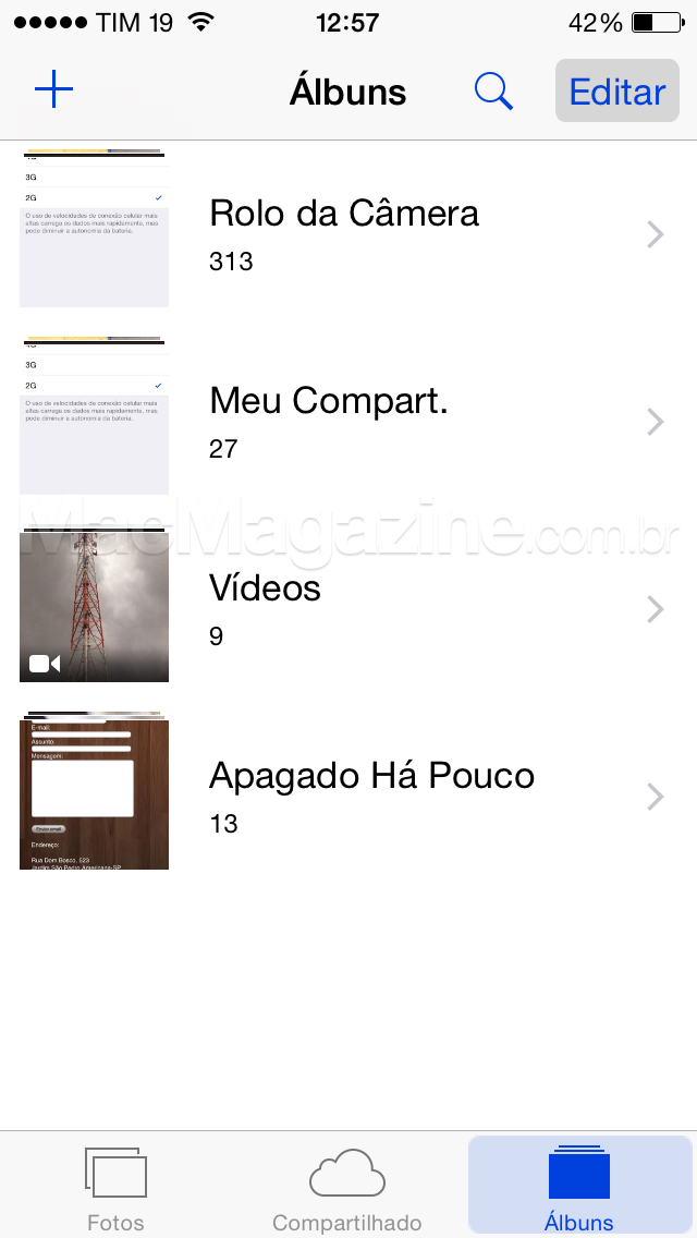 Screenshot do iOS 8.1 beta