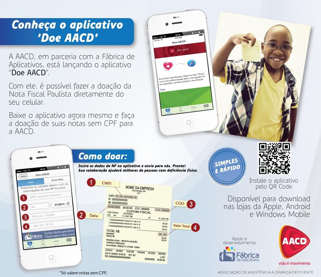 Doando pelo app da AACD