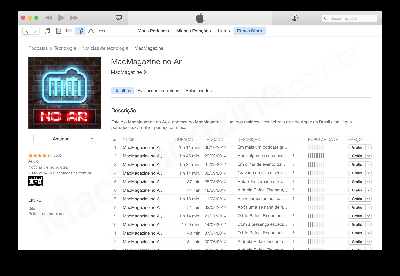 Nova iTunes/App Store, com visual do OS X Yosemite
