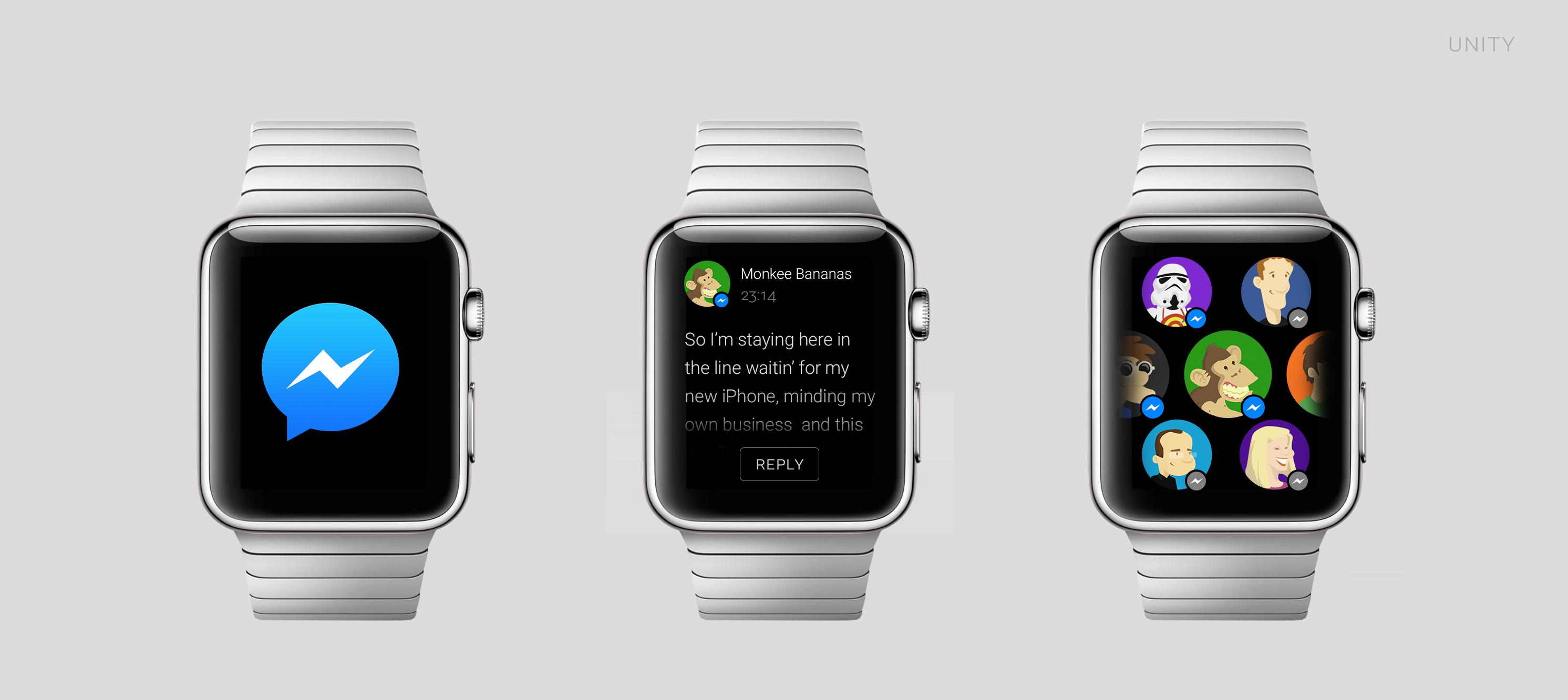 Conceito de app para o Applw Watch - Facebook