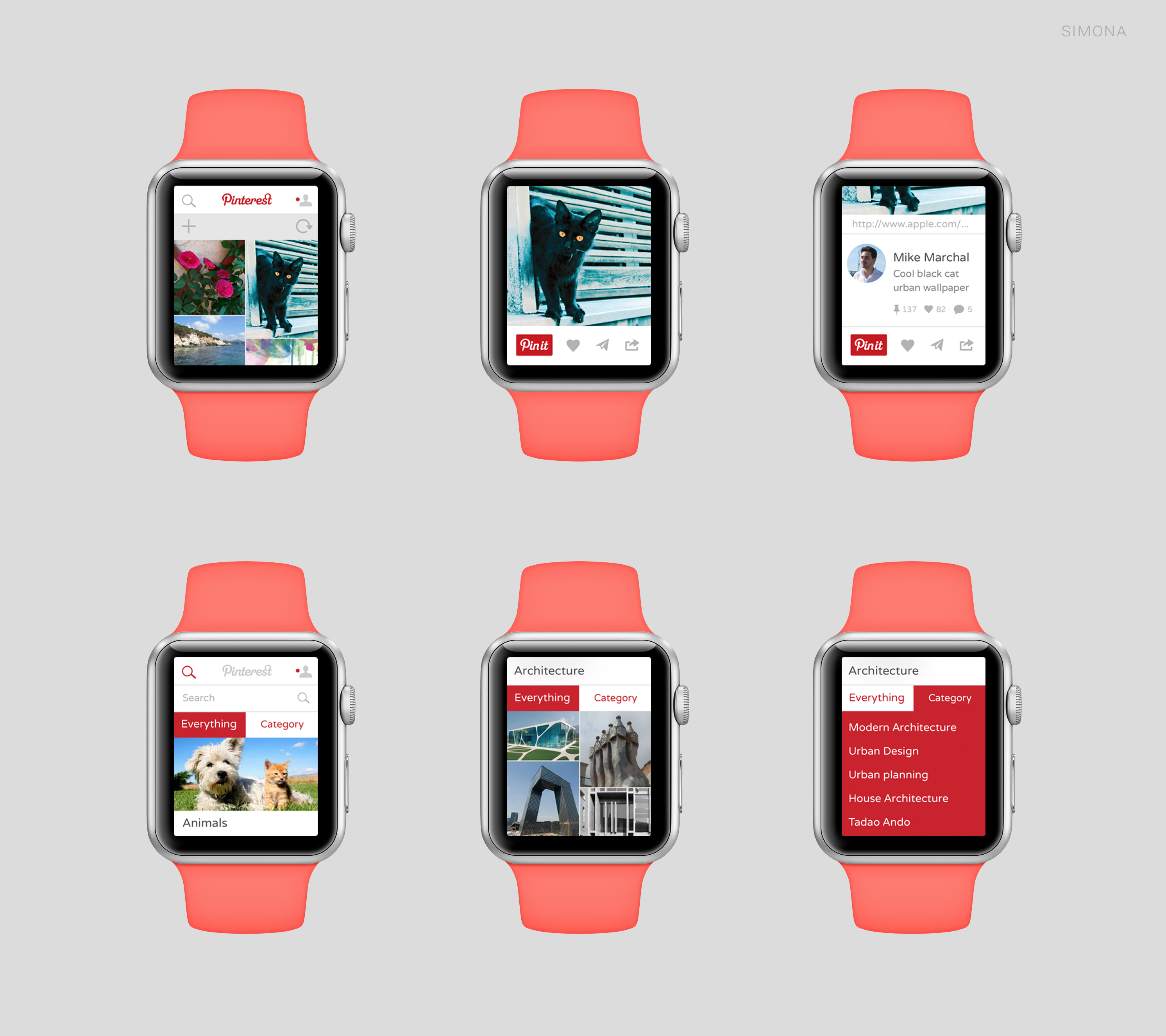 Conceito de app para o Applw Watch - Pinterest