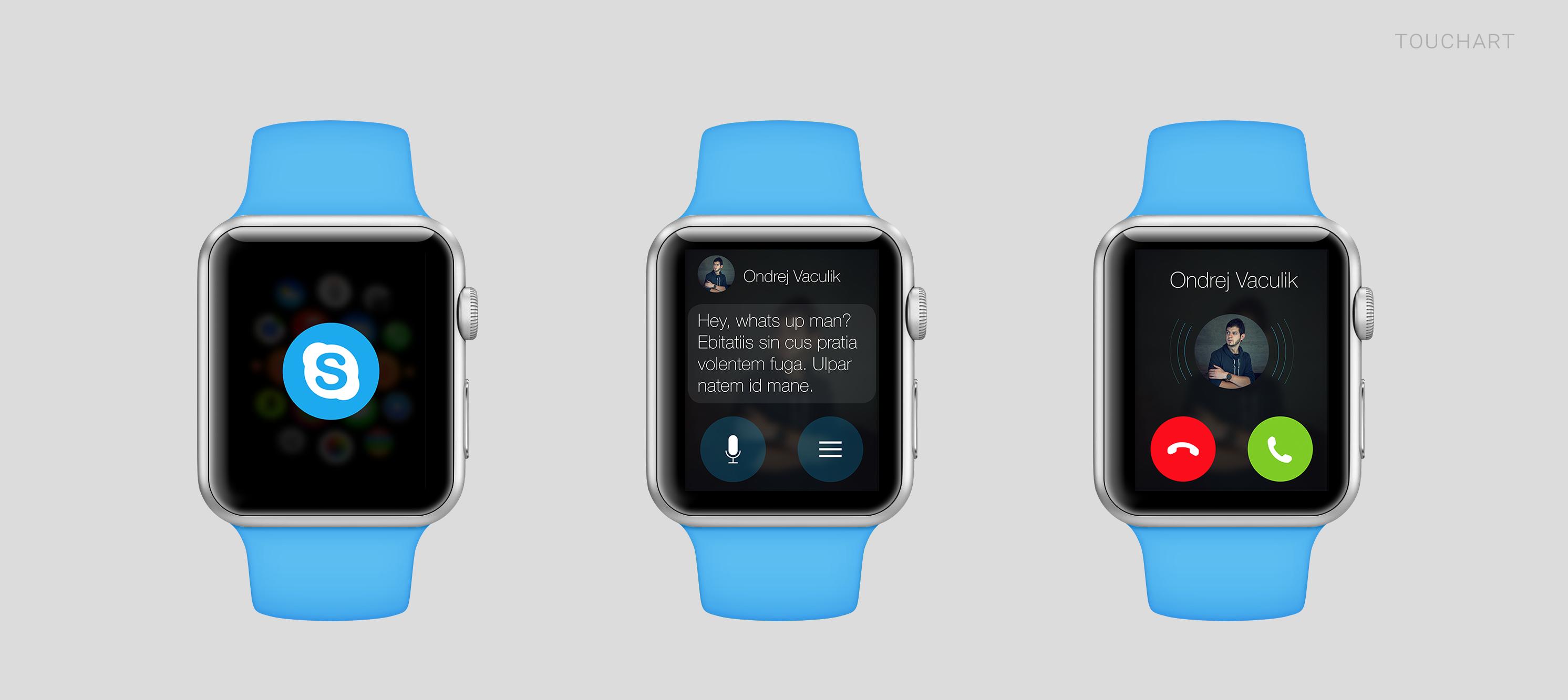 Conceito de app para o Applw Watch - Skype
