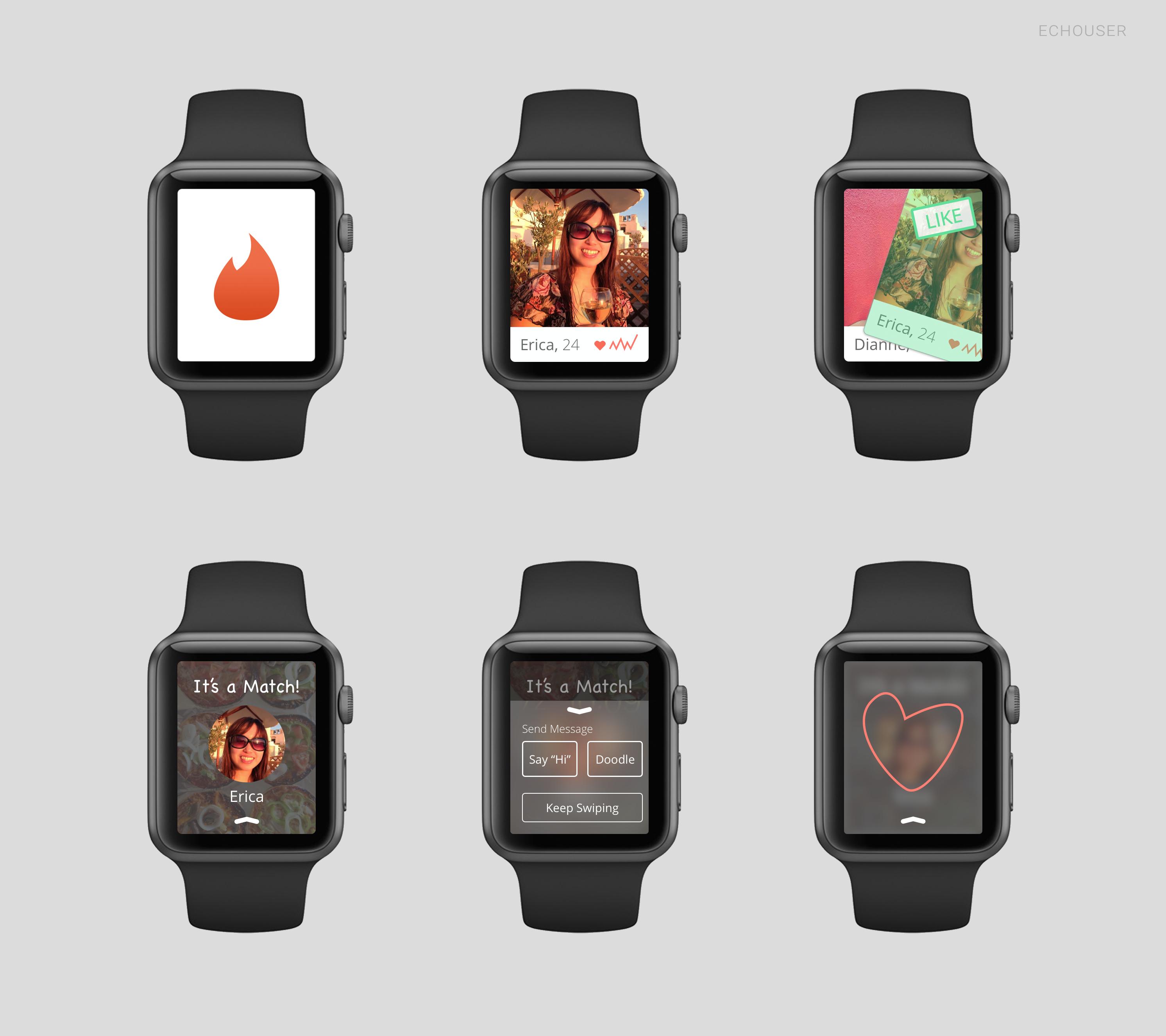 Conceito de app para o Applw Watch - Tinder