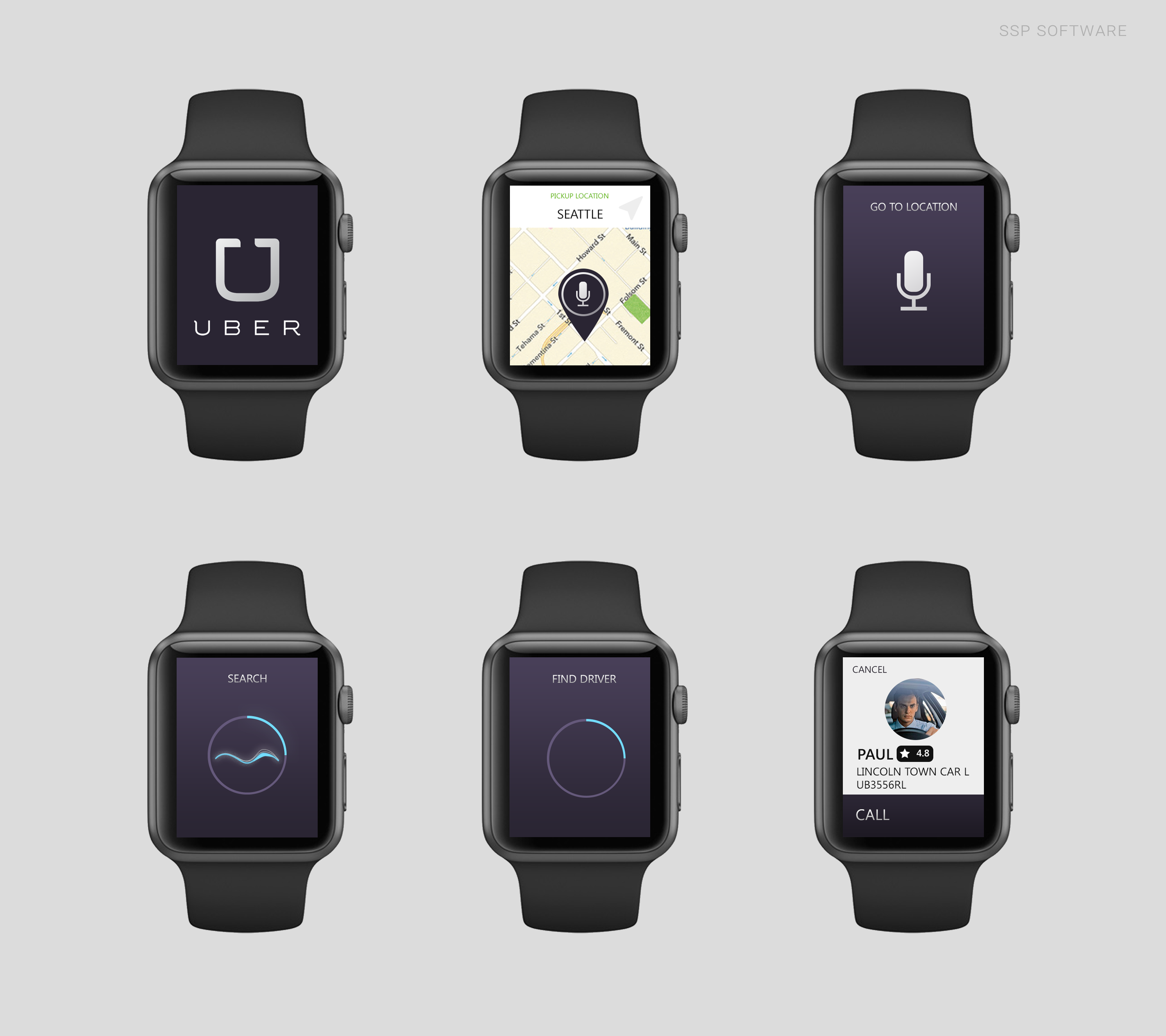 Conceito de app para o Applw Watch - Uber