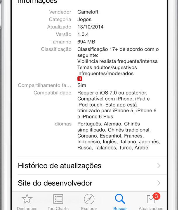 Classificação de 16 anos na App Store