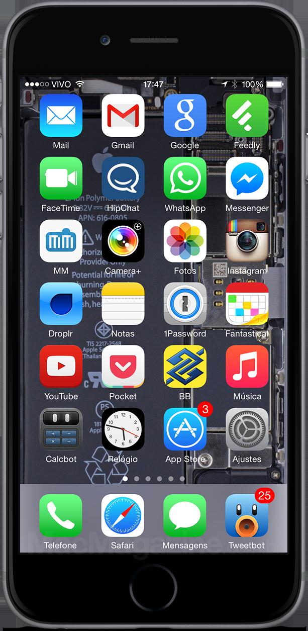 iPhone 6 com o wallpaper da iFixit