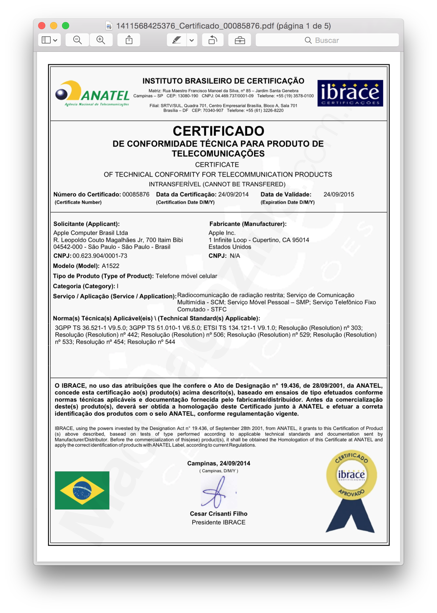 Documentos publicados pela Anatel (A1522)
