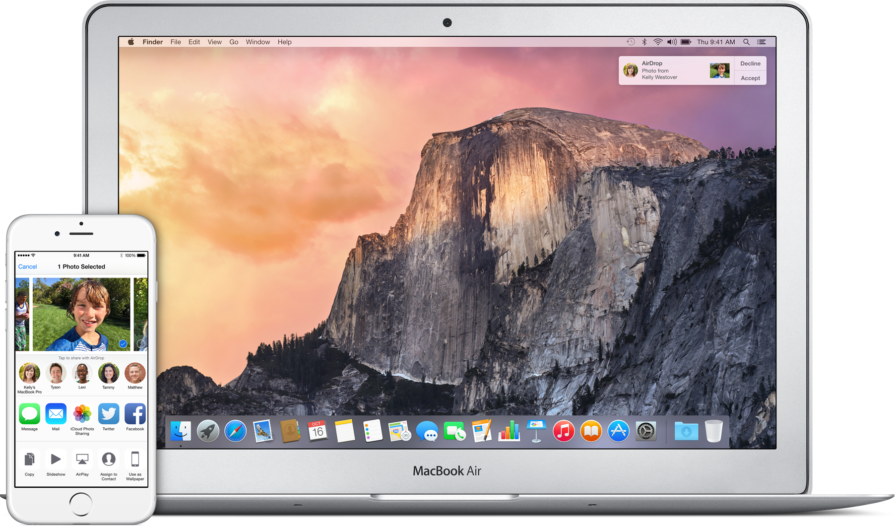 AirDrop entre iPhone e MacBook Air