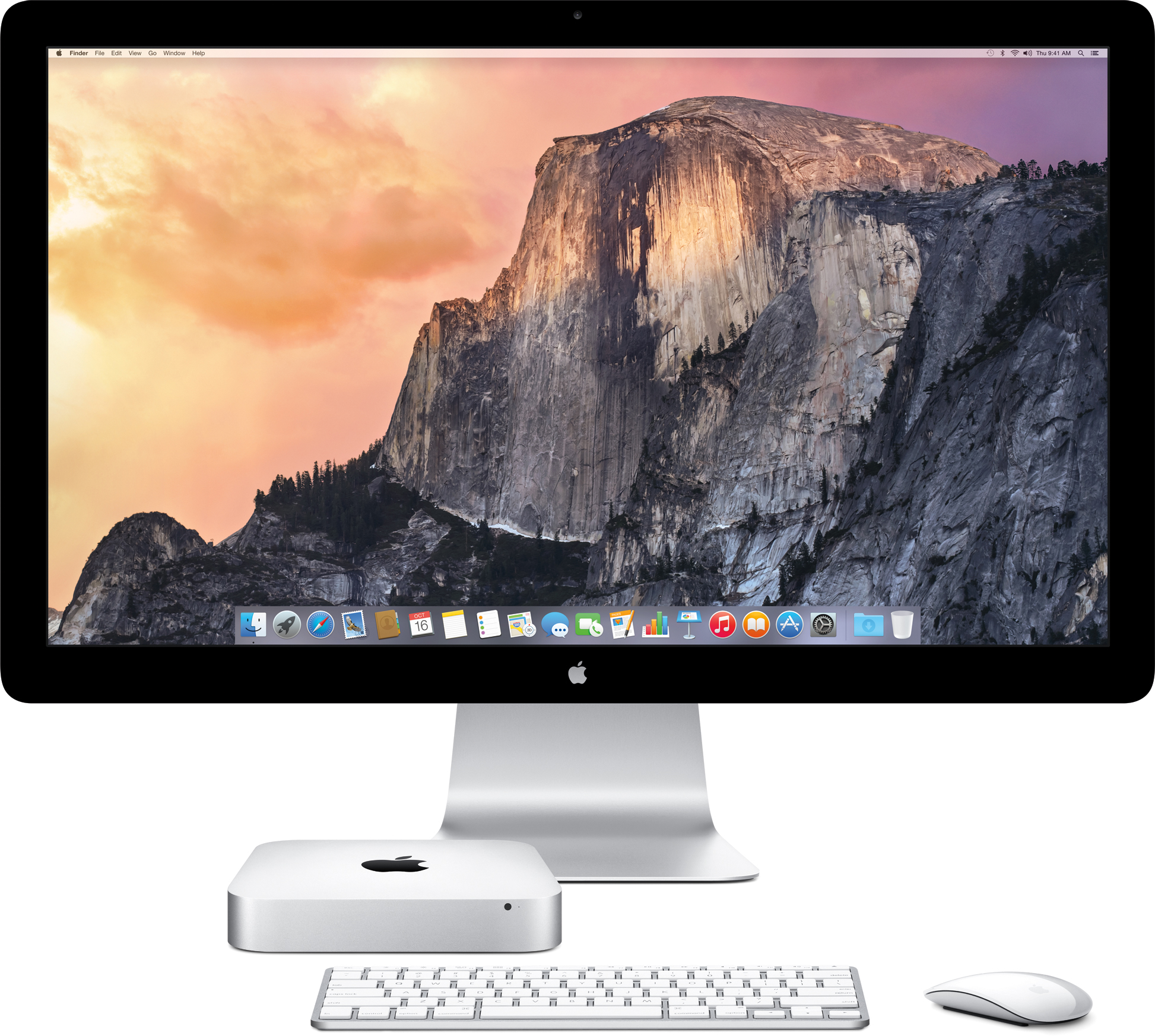 Novo Mac mini de frente com Thunderbolt Display, teclado e mouse