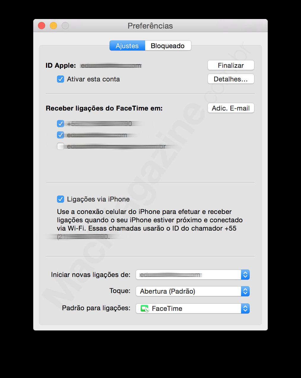 Ligações via iPhone pelo Mac