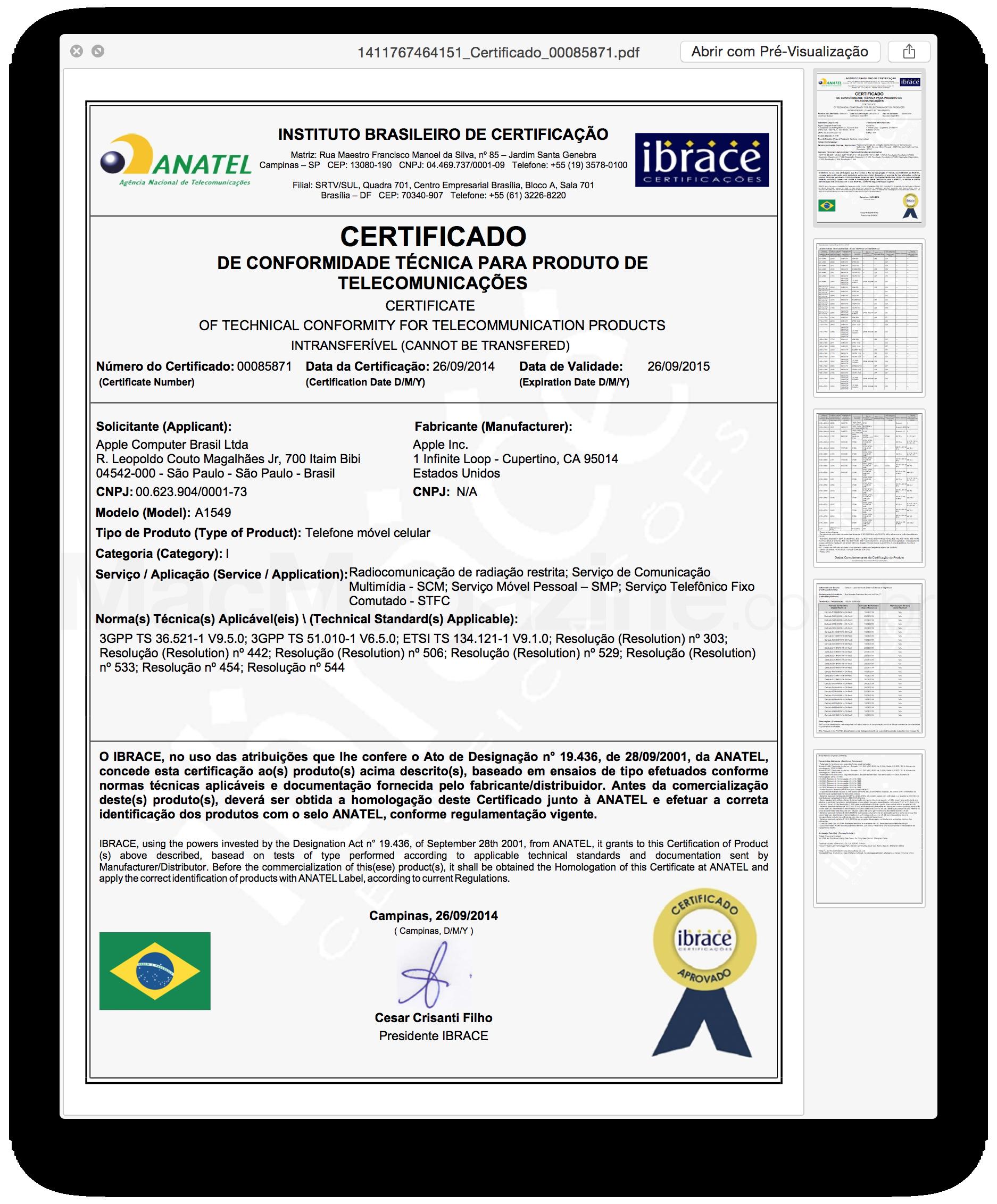 Certificado - Anatel - A1549