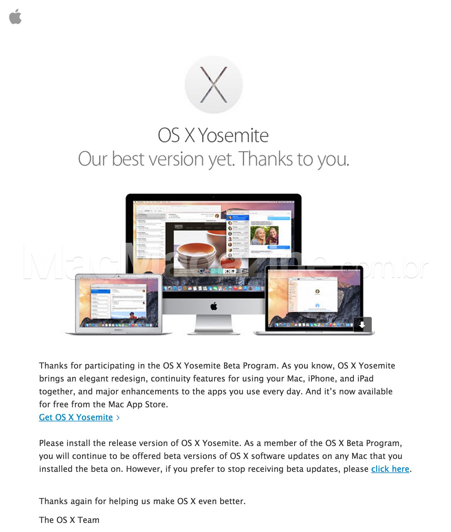 Mensagem sobre o OS X Beta Program