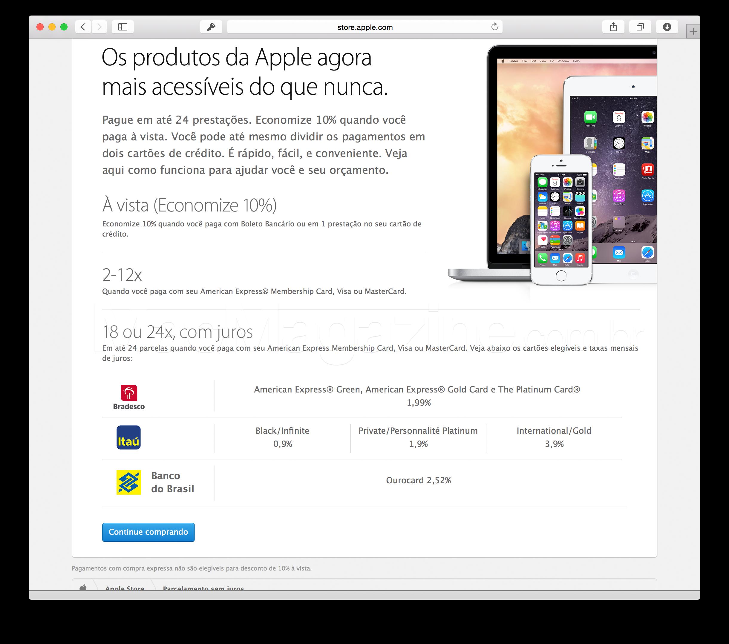 Parcelamento em até 24 vezes da Apple Brasil