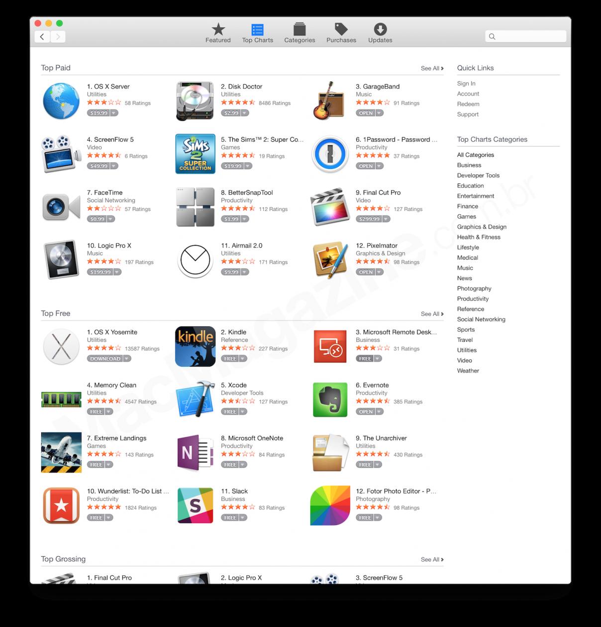 Mac App Store no OS X Yosemite