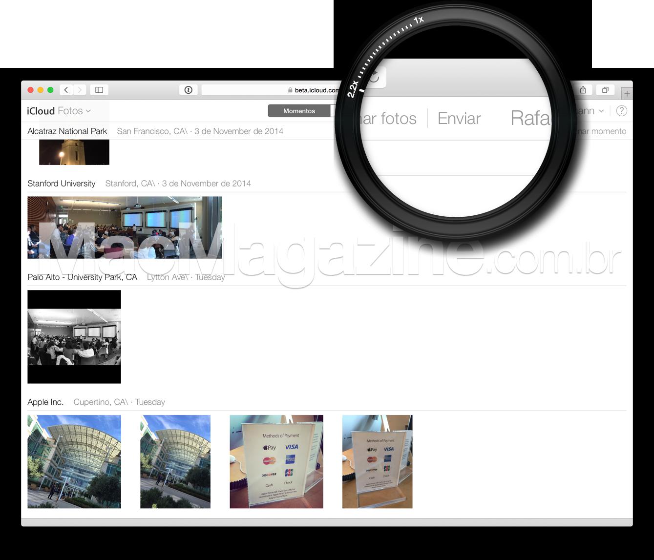 Upload de fotos pro iCloud.com beta