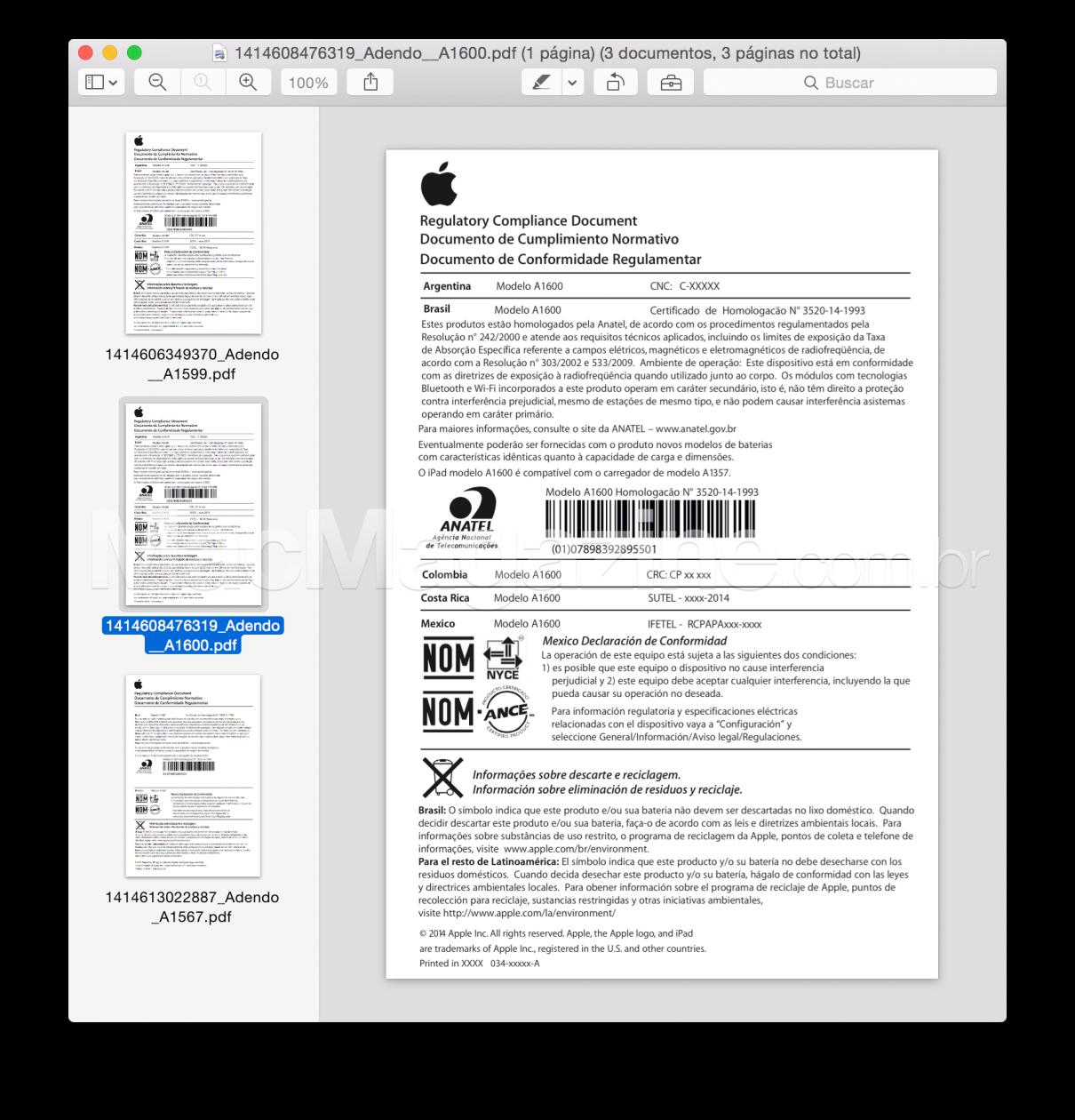 Documento de homologação dos novos iPads