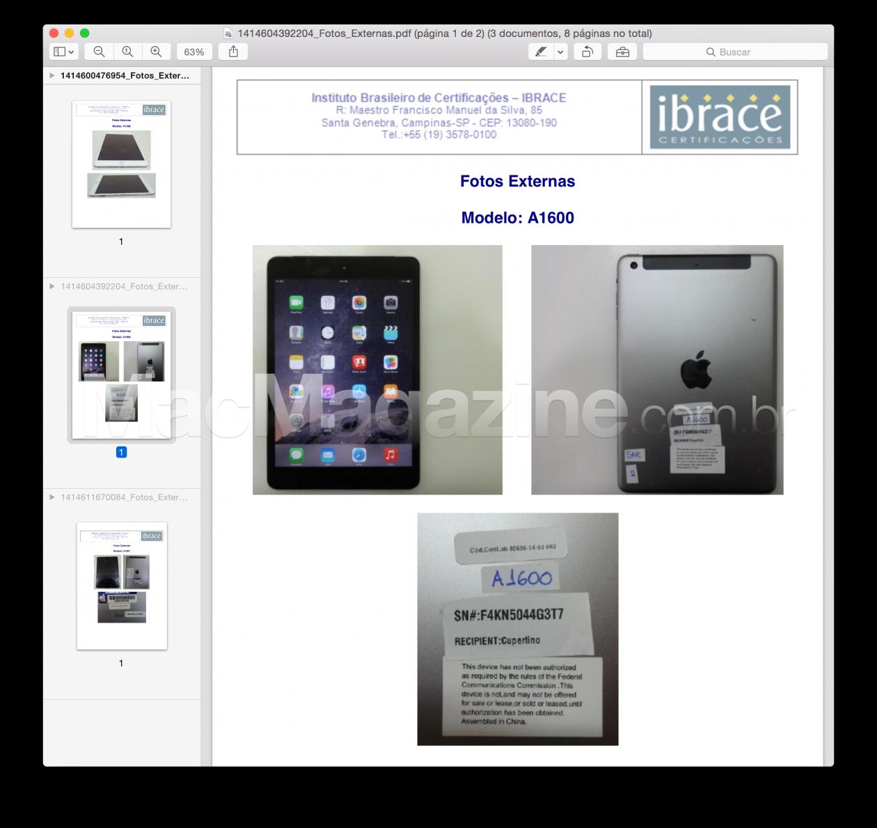 Fotos dos novos iPads homologados