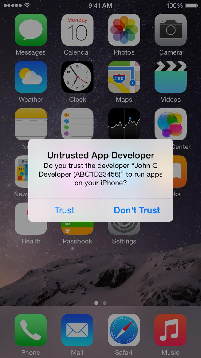 Aceitando certificado empresarial no iOS