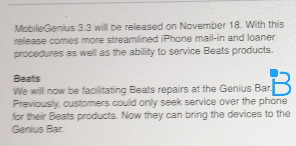 Memorando falando do suporte dos fones Beats (Genius Bar)