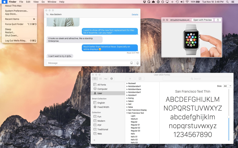 OS X Yosemite com a fonte San Francisco, do Apple Watch