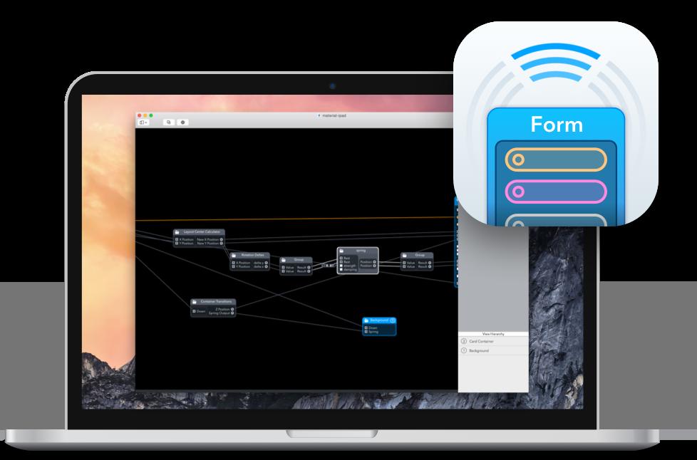 App Form no MacBook Pro com tela Retina