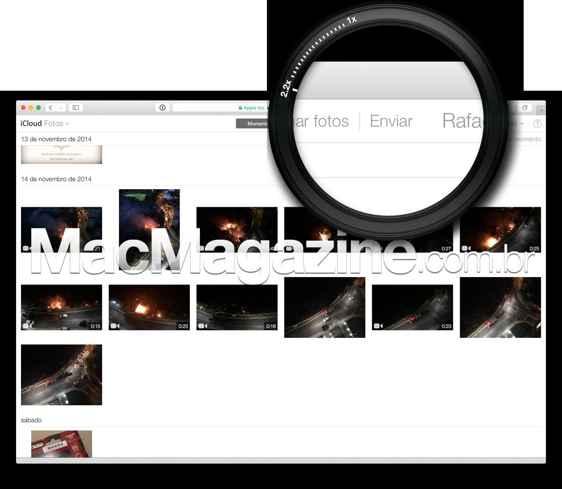 Envio de fotos pelo iCloud.com