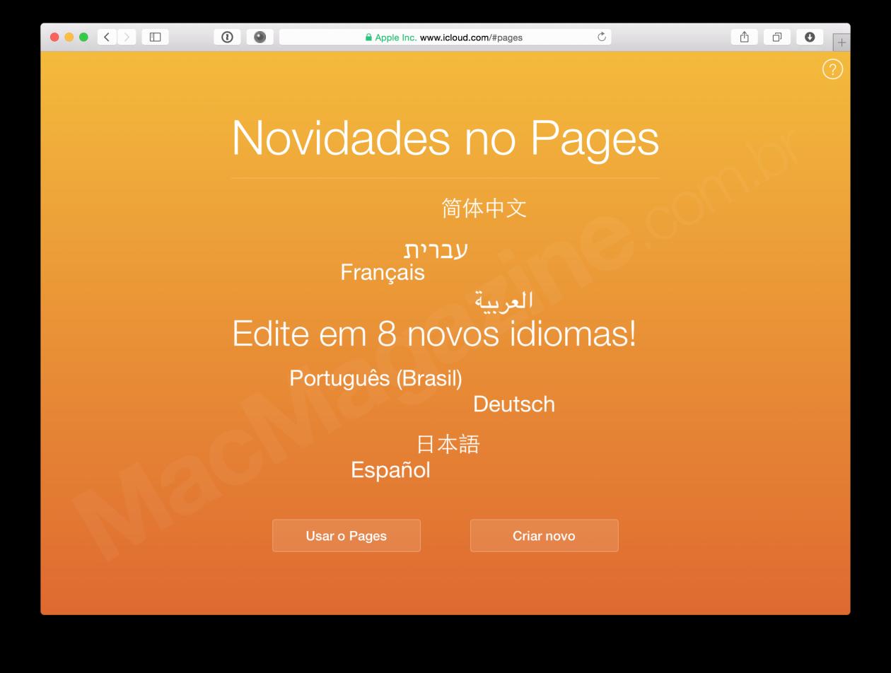 Web app do Pages em português