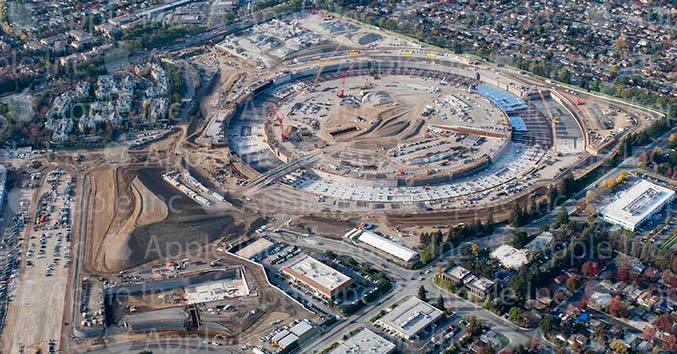 Foto aérea do Apple Campus 2