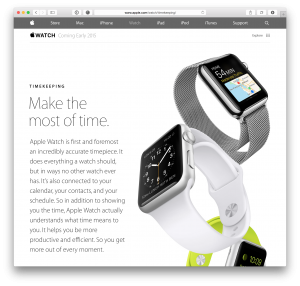 Nova página do Apple Watch