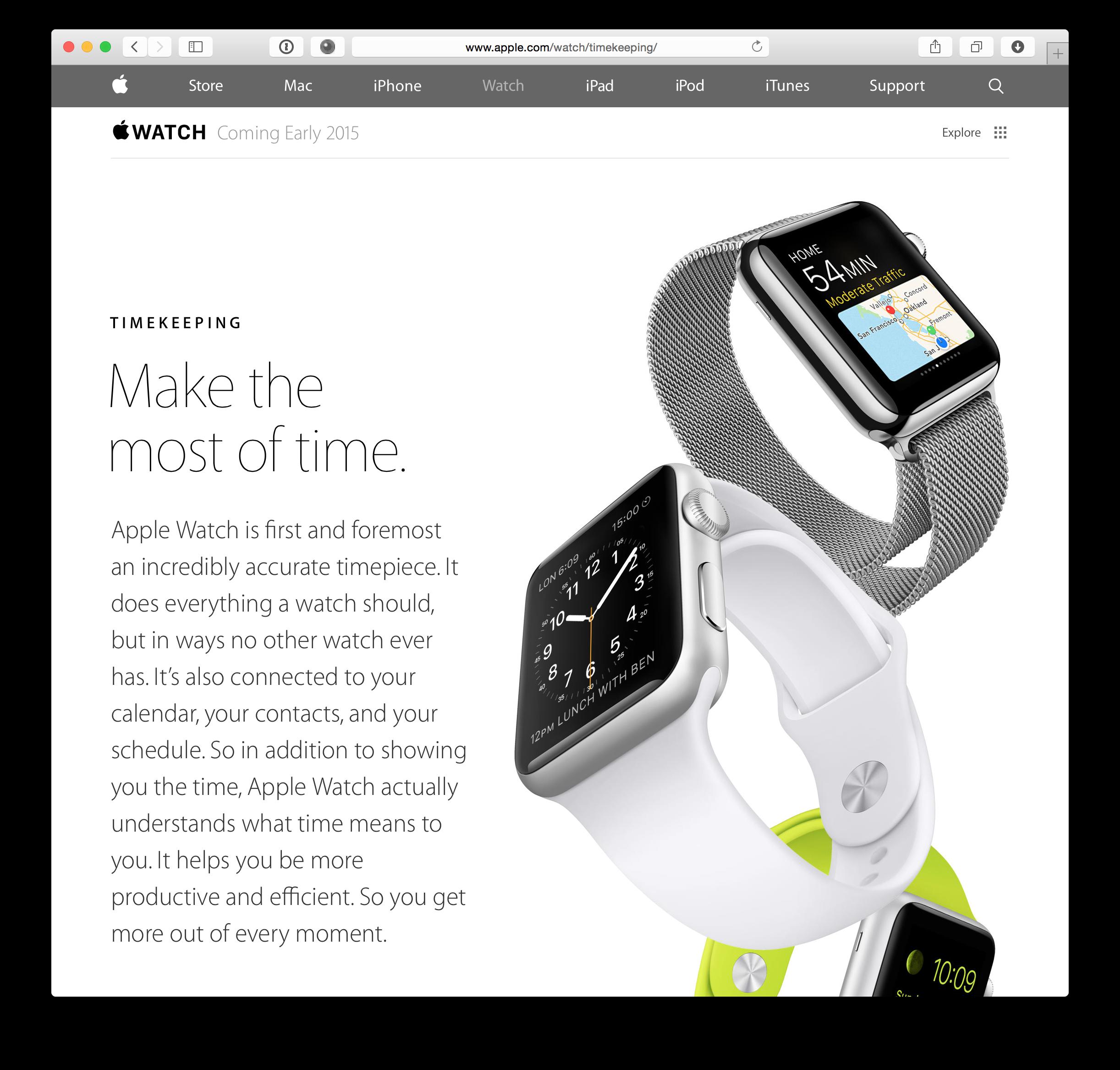 Nova página do Apple Watch
