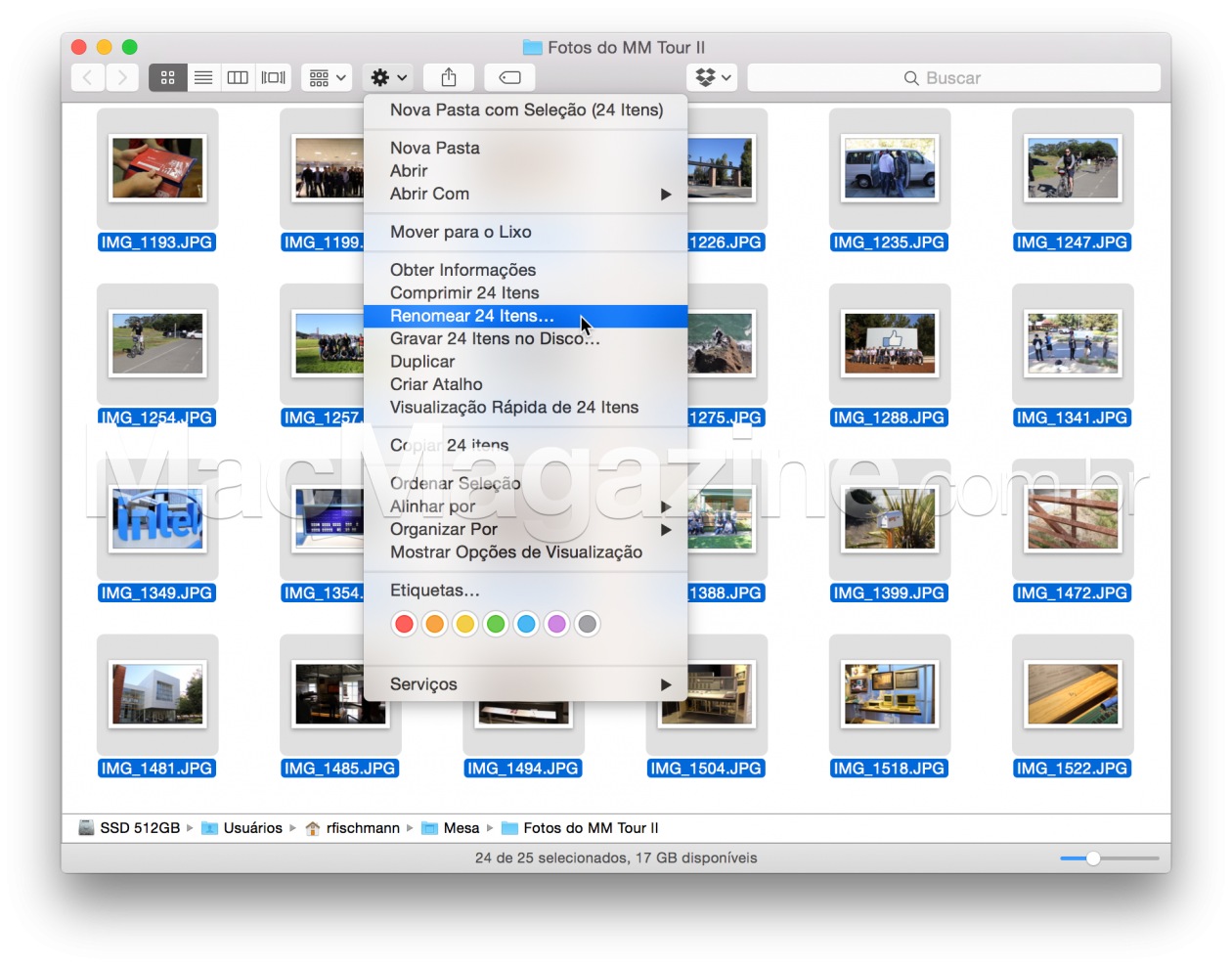 Renomeando arquivos em massa no Finder do OS X Yosemite