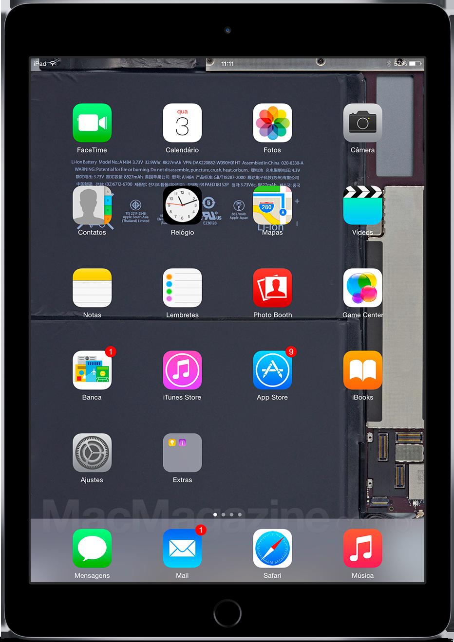 iPad Air 2 com fundo de tela da iFixit