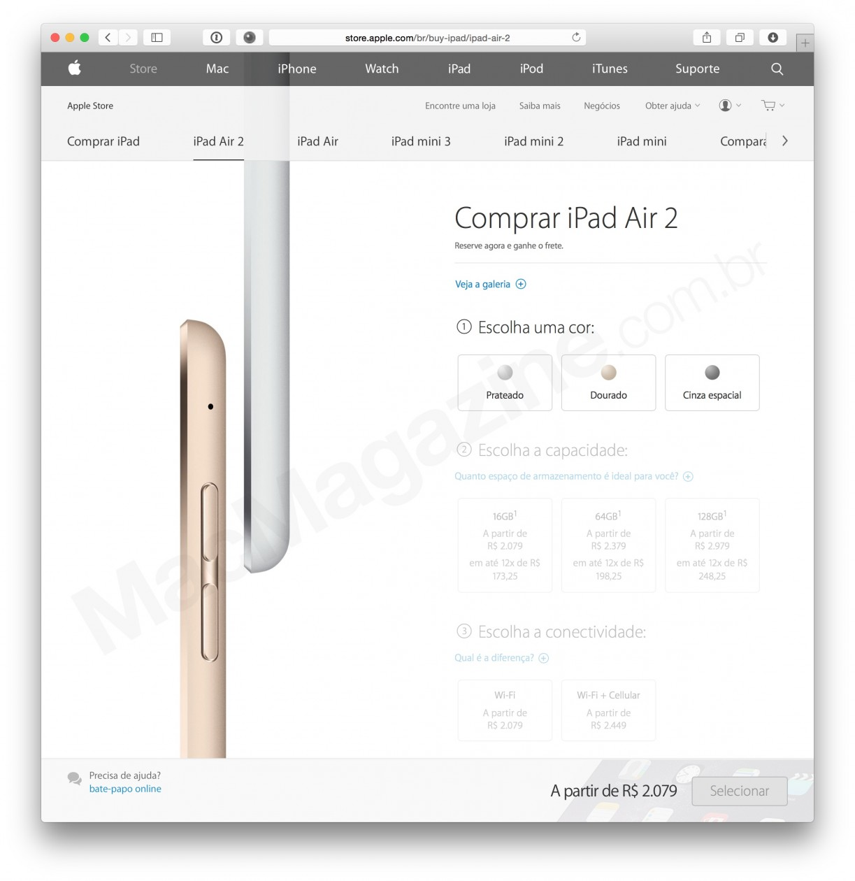iPad Air 2 na Apple Online Store