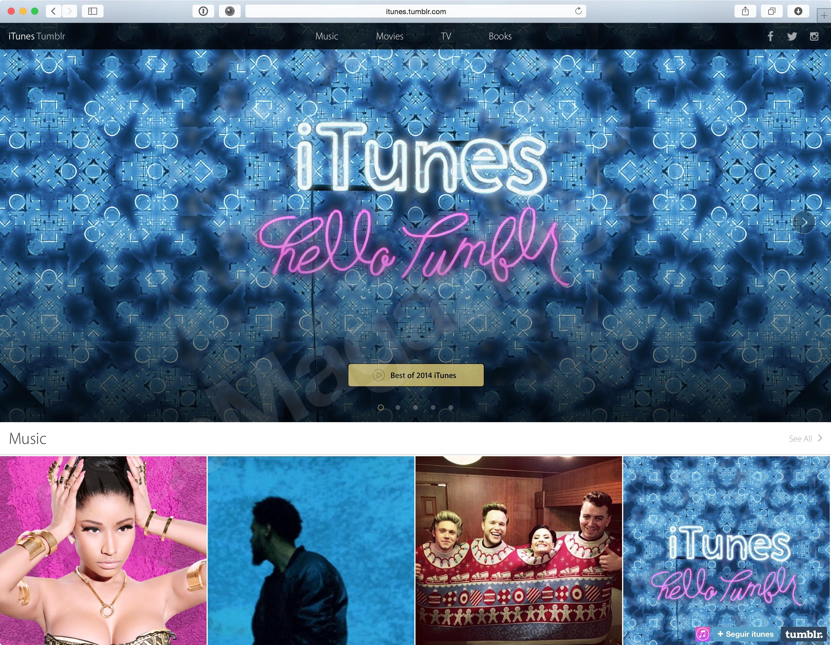 Página do iTunes no Tumblr