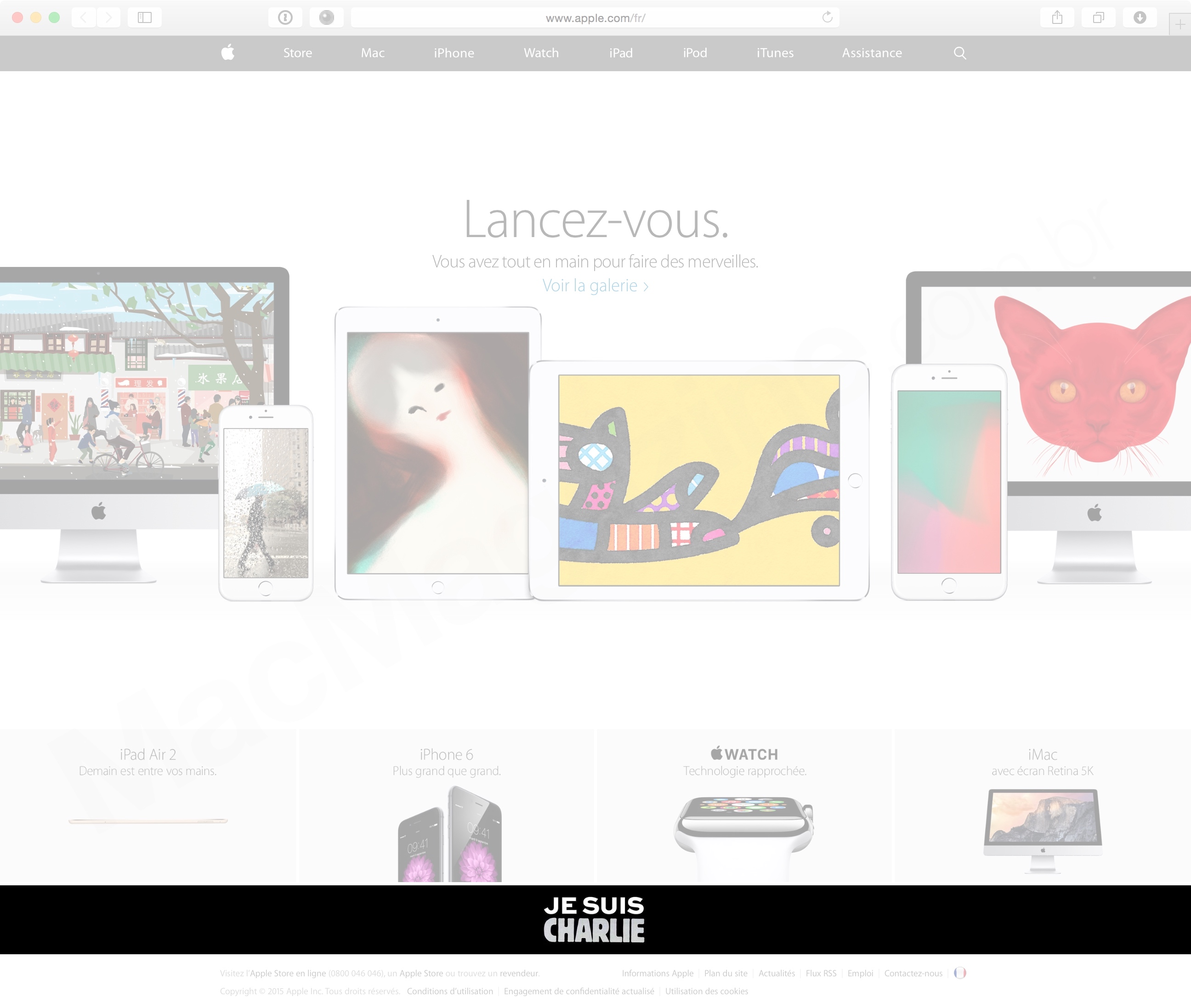 """Je suis Charlie"" no Apple.com/fr"