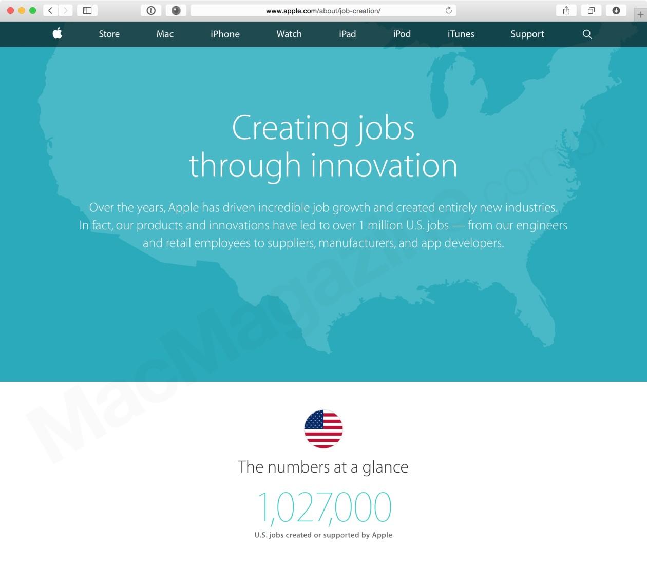 Página da Apple sobre empregos criados nos EUA