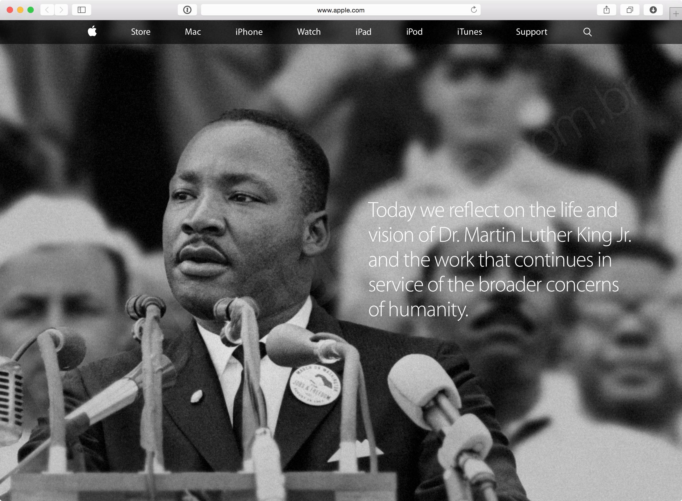 Apple.com em homenagem a Martin Luther King Jr.