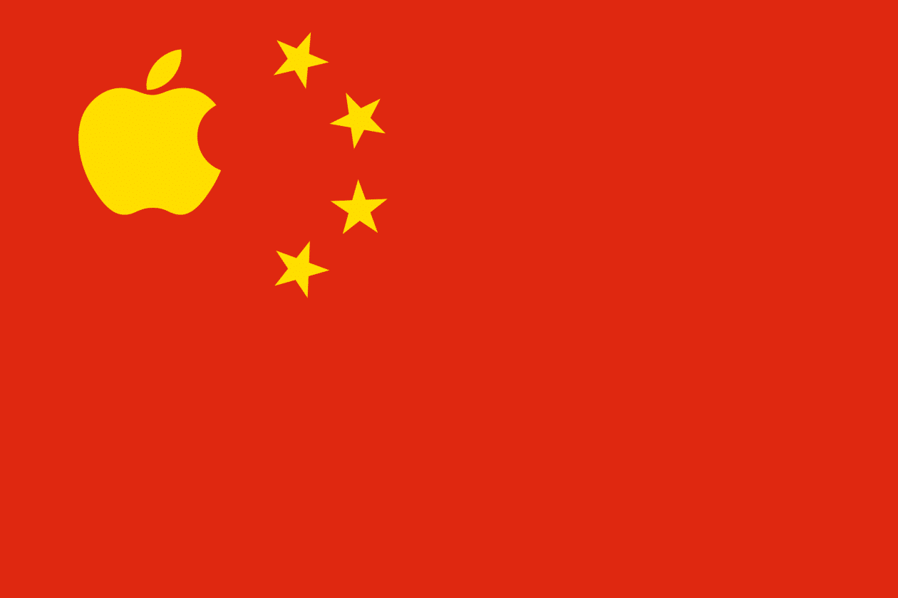 Bandeira da China com o logo da Apple