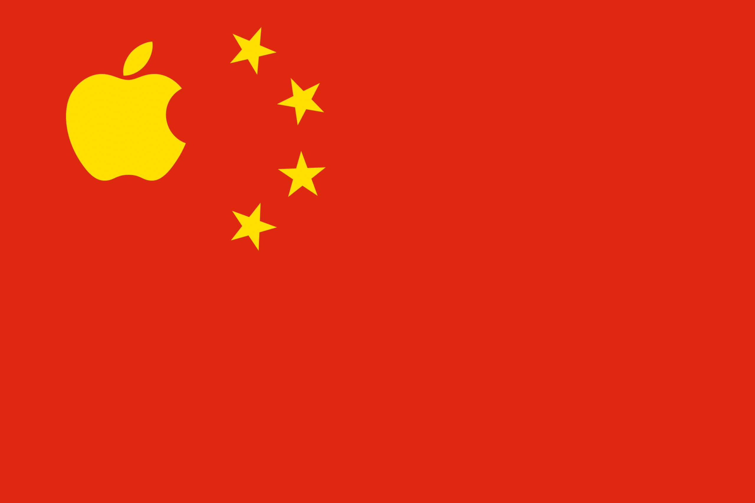 Bandeira da China com o logo da Apple