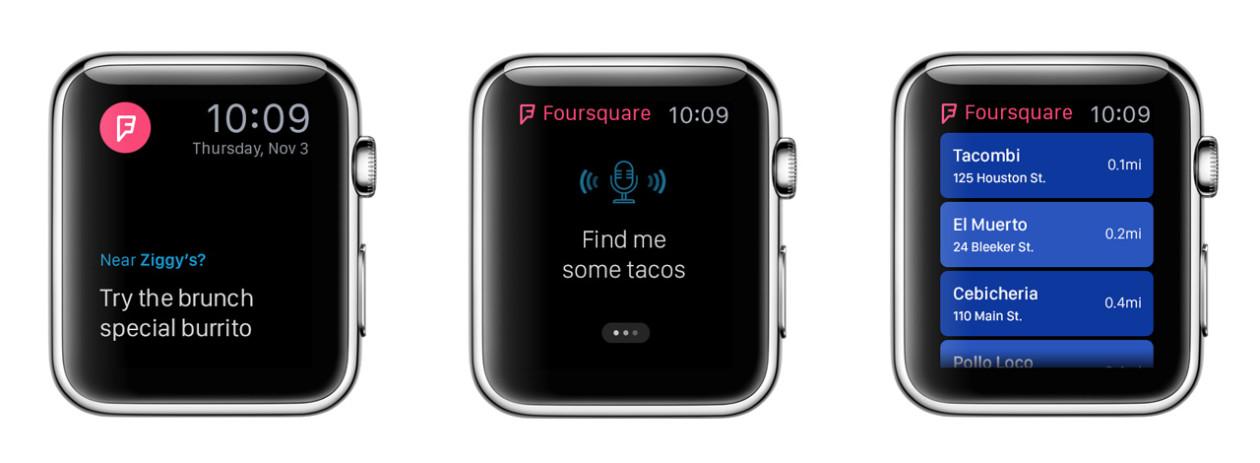 Conceito para o Apple Watch - Foursquare