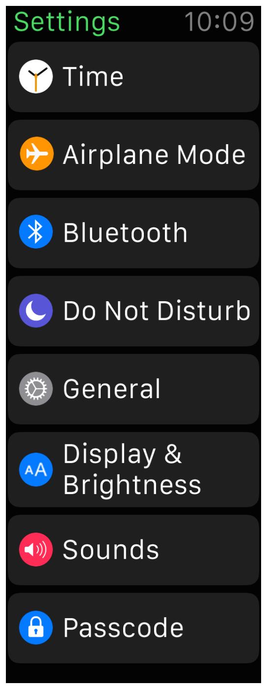 Tela de configurações do Apple Watch