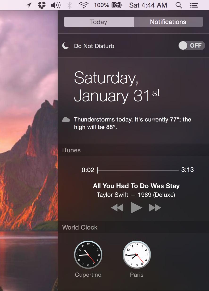 Widget do iTunes 12.1