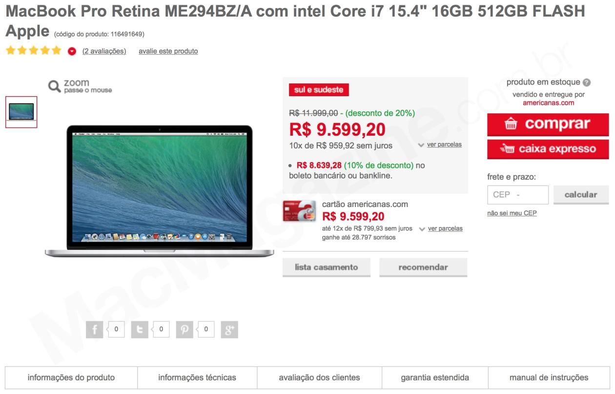 Oferta: MacBook Pro Retina de 15″ (geração 2013, topo-de