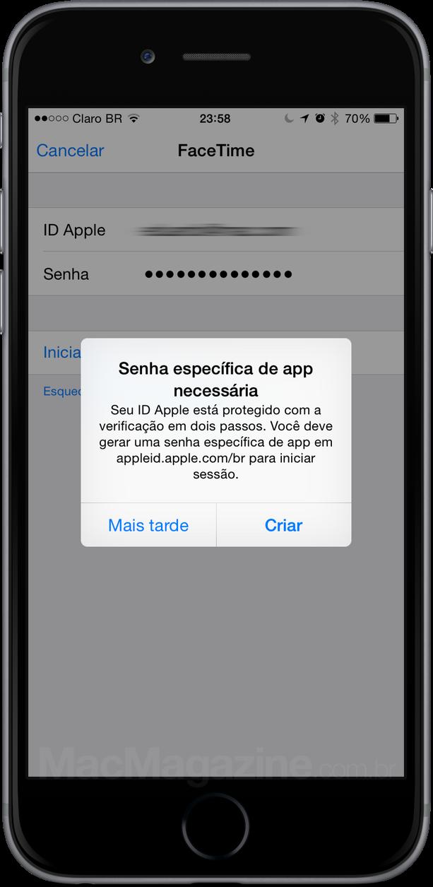 Senha específica de app para usar o FaceTime