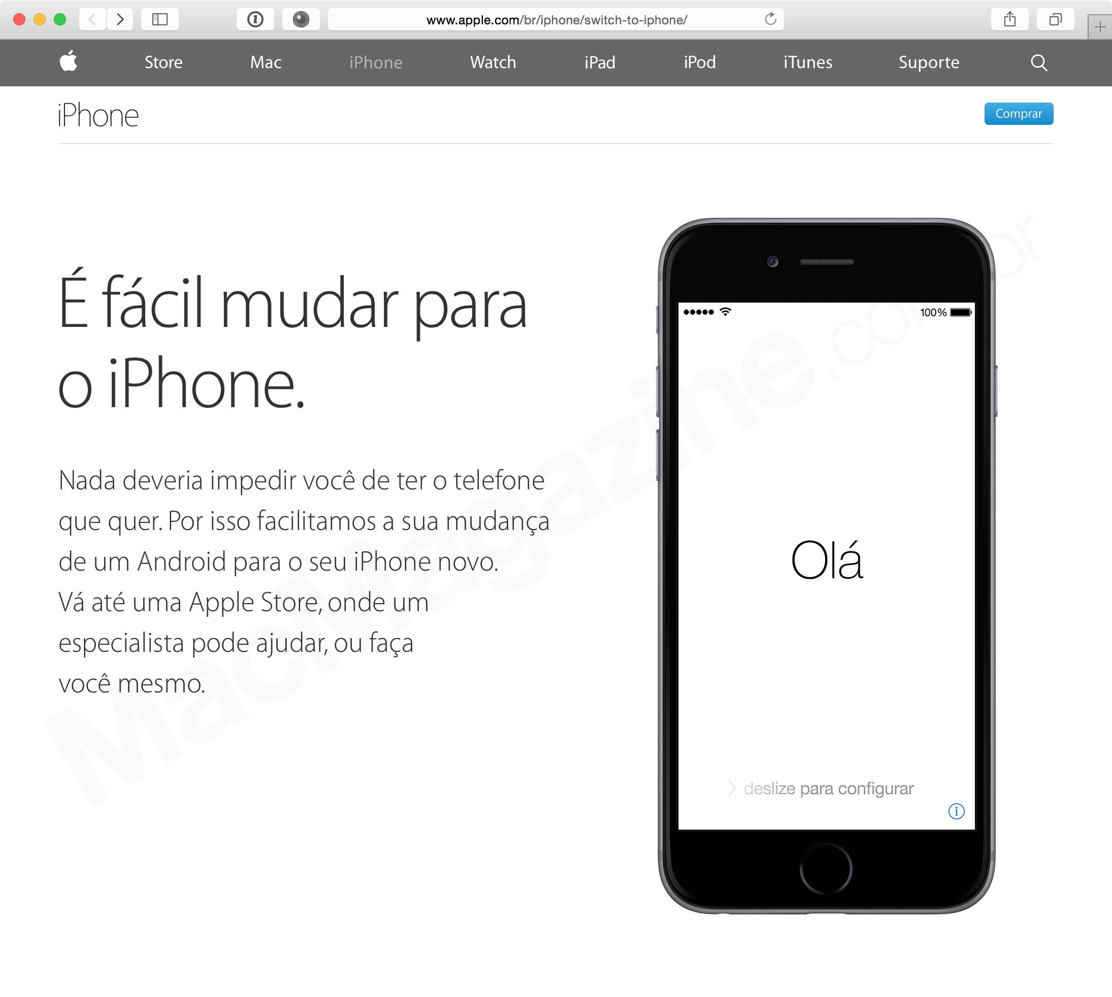 "Página ""Mude para o iPhone"""