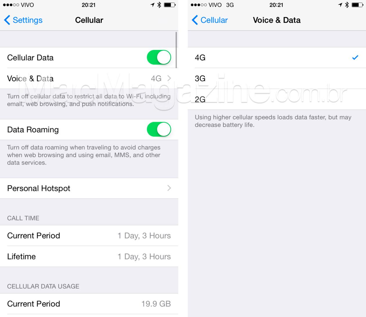 Escolha de rede de dados no iOS 8.3