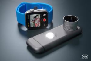 Mockup da iPro com o Apple Watch