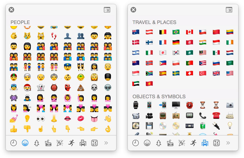 Mais Emojis no OS X Yosemite 10.10.3